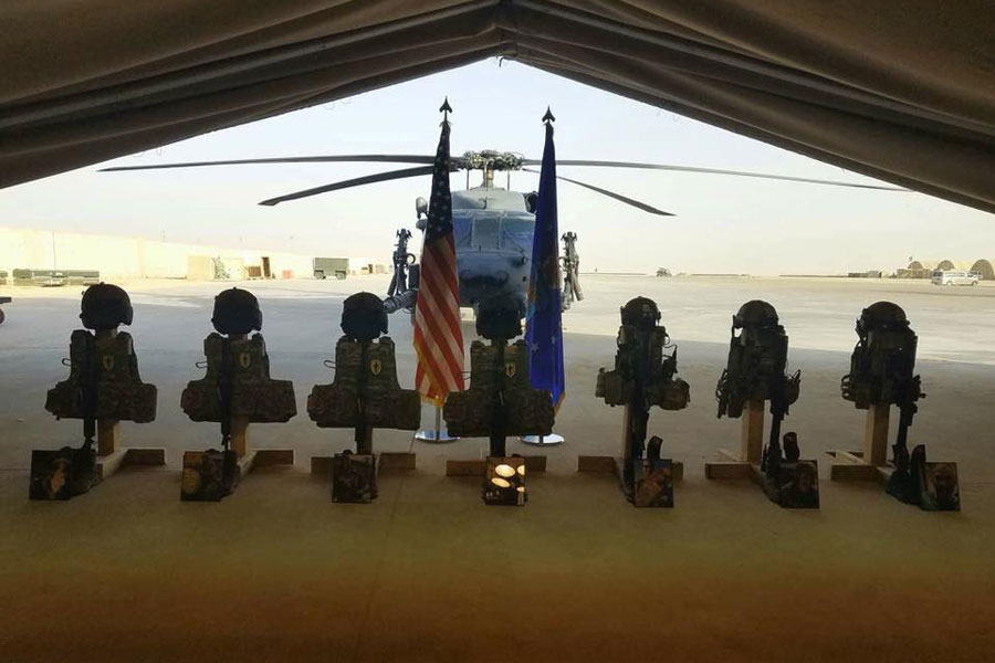 Photo Shows Downrange Memorial to Airmen Killed in Pave Hawk Crash