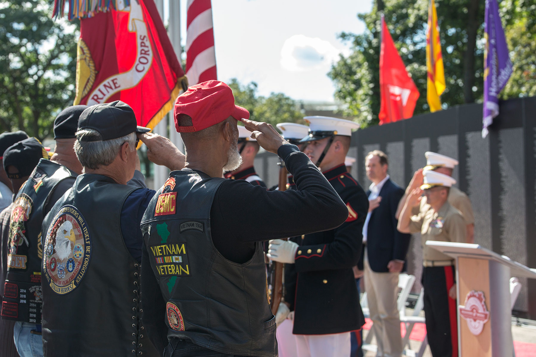 The U.S. Marine Corps Color Guard presents the National Ensign and the U.S. Marine Corps Battle Colors during a Vietnam War pinning ceremony as a part of Marine Week, Detroit, Michigan. (Marine Corps/Robert Knapp)