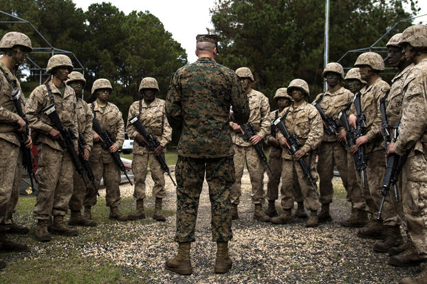 U.S. Marine Corps recruits listen to their drill instructor during the Crucible at the Marine Corps Recruit Depot, Parris Island, S.C., Dec. 3, 2015. (U.S. Air Force photo/Staff Sgt. Kenneth W. Norman)