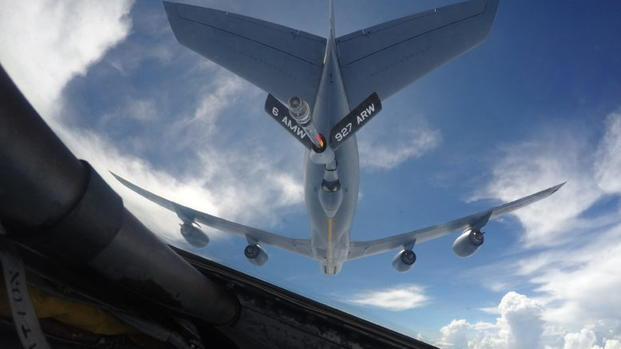 A KC-135 from the 927th Air Refueling Wing from MacDill Air Force Base, Fl fuels a B-52 Stratofortress from Barksdale Air Force Base, La. Lawmakers have wanted to curtail the Air Force's ability to refuel Saudi-led coalition jets striking Yemen. (Air Force Photo/Will Bracy)