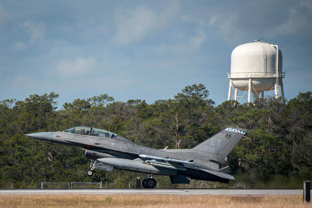 A 96th Test Wing F-16D Fighting Falcon lifts off from the runway at Eglin Air Force Base, Fla., for another test sortie. (U.S. Air Force photo/Samuel King Jr.)