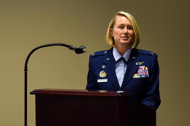 FILE PHOTO – Then Col. Bobbi Doorenbos (now Brig. Gen. Bobbi Doorenbos), at a retirement ceremony at Ebbing Air National Guard Base, Fort Smith, Ark., Aug. 7, 2016. (U.S. Air National Guard/Senior Airman Cody Martin)