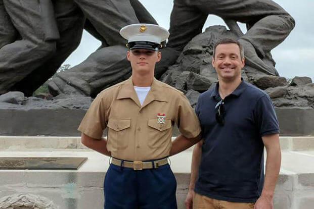 Scott Weberpal, right, shared this photo of his son, Pfc. Ethan Barclay-Weberpal, left, on Facebook. (Facebook photo)