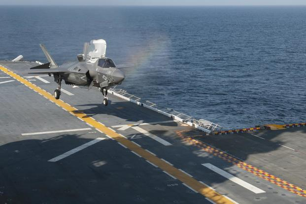 An F-35B lands aboard the amphibious assault ship USS Wasp, July 12, 2017. (U.S. Navy/Mass Communication Specialist 3rd Class Sean Galbreath)