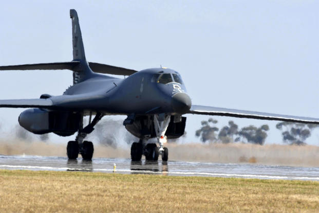 A B-1B Lancer lands at Avalon Airport in Geelong, Australia on March 1, 2017, during its continuous bomber presence mission in the Pacific. B-52s recently replaced the B-1 in that role. (US Air Force photo/John Gordinier)