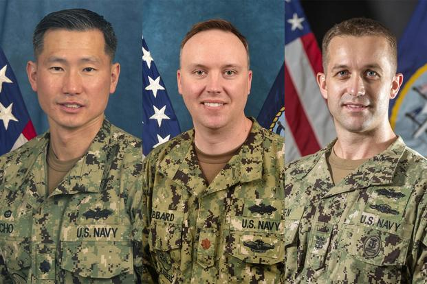 Commanding Officer Cmdr. James Cho (left), Executive Officer Lt. Cmdr. Jason Gabbard (center) , and Command Master Chief Jason Holden (right) have all been removed from their posts. (U.S. Navy Photos)