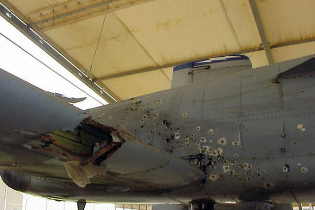 The A-10 Thunderbolt II piloted by Captain Kim Campbell suffered extensive damage during Operation Iraqi Freedom in 2003. Campbell flew it safely back to base on manual reversion mode after taking damage to the hydraulic system. (U.S. Air Force photo)