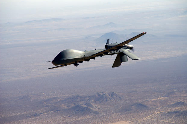 The Army's Gray Eagle drone packs four Hellfire air-to-surface missiles and can stay aloft for 24 hours. (US Army photo)