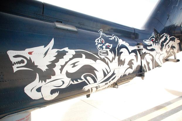 A close up of the HSM-75 show bird's tail painted by Shayne Meder. (Photo: Daniel Langhorne)