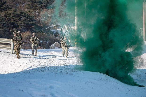 Soldiers from 1st Battalion, 9th Cavalry Regiment, 2nd Armored Brigade Combat Team, 1st Cavalry Division, participate in bilateral Warrior Strike drills in South Korea on Dec. 13, 2017. Patrick Eakin/Army