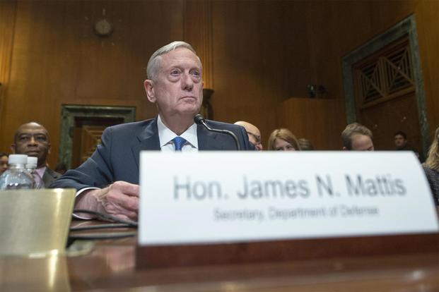 Defense Secretary James N. Mattis discusses the Defense Department's fiscal year 2017 budget request during testimony before the Senate Appropriations Committee, March 22, 2017. (Photo Credit: Petty Officer 2nd Class Dominique A. Pineiro, U.S. Navy)