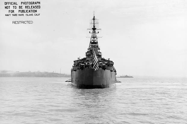 View from astern of the USS Indianapolis, off the Mare Island Navy Yard, California, 10 July 1945, after her final overhaul. (U.S. Navy/National Archives)