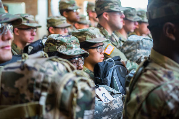 U.S. Army Infantry soldiers-in-training assigned to Alpha Company, 1st Battalion, 19th Infantry Regiment, 198th Infantry Brigade, begin their first day of Infantry One Station Unit Training (OSUT) February 10, 2017 on Sand Hill, Fort Benning, Ga. (U.S. Army photo/Patrick A. Albright))