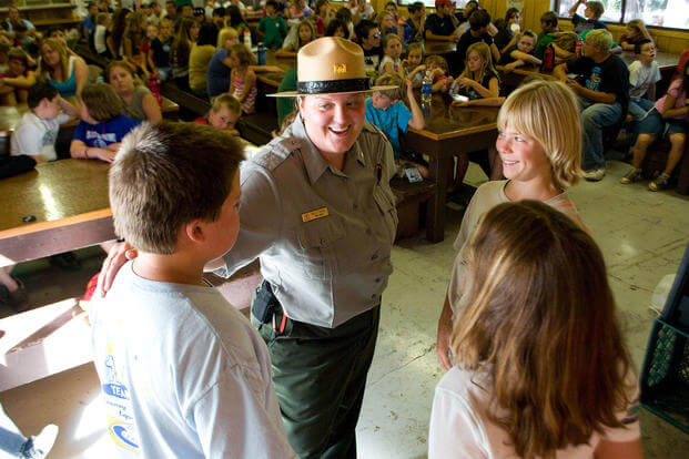 Park Ranger Holly Myers teaches campers water safety at Black Butte Lake, California. (U.S. Army/Chris Graygarcia)
