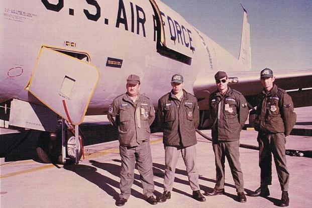 Will Stafford stands third from left in this 1977 photo. He worked as an aircraft maintenance specialist for the KC-135 tanker. (Photo courtesy of Will Stafford)