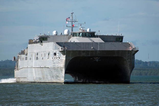 Military Sealift Command's expeditionary fast transport ship, USNS Brunswick (T-EPF 6), gets underway from Joint Expeditionary Base Little Creek-Fort Story on Jan. 30. (US Navy photo/Bill Mesta)