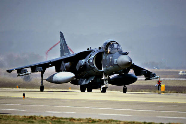 A Marine Corps AV-8B Harrier jet prepares for take-off. Two Marine Harriers from Whidbey Island Naval Air Station made an emergency landing Friday at an air terminal in Yakima, Washington. (US Air Force photo/Siuta B. Ika)