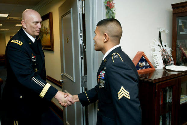 Sgt. Saral Shrestha, who entered the Army through the MAVNI program, was named Soldier of the Year in 2012. Now some enlistees who entered through the program are stuck in limbo with an uncertain future. (US Army photo/Teddy Wade)