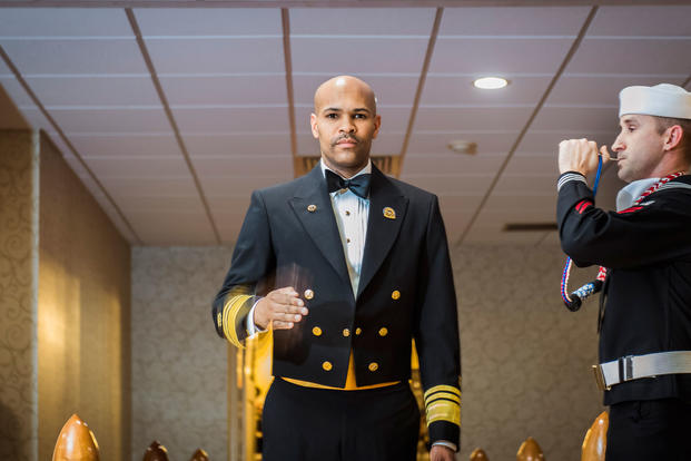 U.S. Surgeon General Vice Adm. Jerome M. Adams serves as the guest speaker for the National Capital Region's Holiday Ball hosted by the Belvoir Hospital December 2, 2017. (Department of Defense photo/Reese Brown)