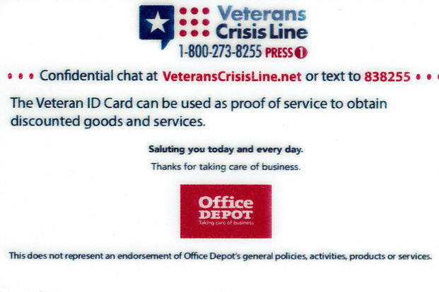 va id cards include office depot logo military com