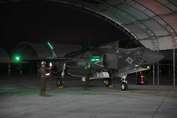 FILE PHOTO -- An instructor pilot with Marine Fighter Attack Training Squadron 501, flies into Beaufort skies to conduct an F-35B Lightning II night flight, March 2, 2015.(U.S. Marine Corps/Cpl. Aneshea Yee)