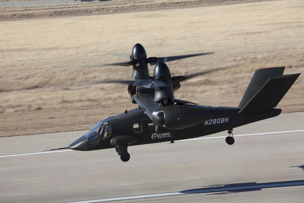 Bell Helicopter's V-280 Valor tilt-rotor aircraft during a 2018 test flight. (Photo courtesy of Bell Helicopter)