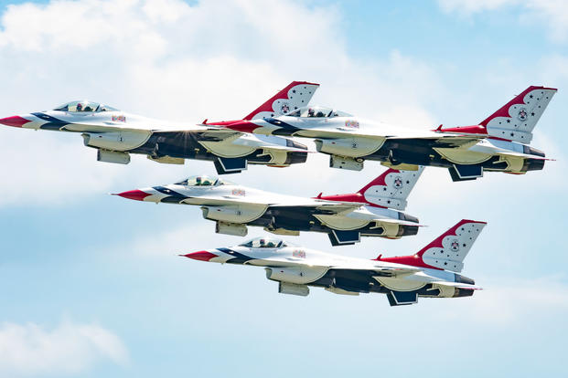 "The U.S. Air Force Air Demonstration Squadron ""Thunderbirds"" perform at the Thunder of Niagara Air Show near Niagara Falls, N.Y., June 10, 2018. Since 1953, the Thunderbirds team has served as America's premier air demonstration squadron, entrusted with the vital mission to recruit, retain and inspire past, present and future Airmen. (U.S. Air Force Photo/Cory W. Bush)"