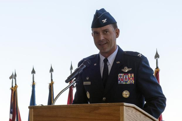 U.S. Air Force Col. Ethan Griffin delivers his first speech as commander, 60th Air Mobility Wing, during a change of command ceremony, July 10, 2018, Travis Air Force Base, Calif. (U.S. Air Force/Heide Couch)