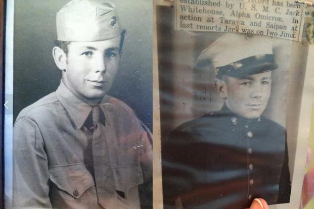 The author's Grandfather , who served on Guadalcanal, Tarawa, Saipan, Tinian and Okinawa with the 2nd Marine Division in World War II, with a snippet (in the right photograph) from a Virginia newspaper about his service. (Photo Courtesy of Sarah Holzhalb)