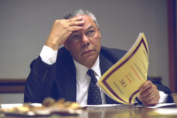 ecretary of State Colin Powell gets briefed inside the President's Emergency Operations Center, Sept. 11, 2001. (National Archives)