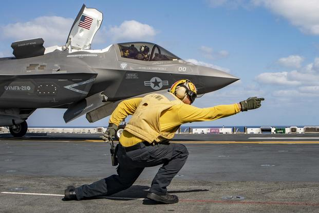 An  F-35B Lightning II launches from the flight deck of Wasp-class amphibious assault ship USS Essex (LHD 2) during a deployment of Essex Amphibious Ready Group (ARG) and 13th Marine Expeditionary Unit (MEU). (U.S. Navy/Mass Communication Specialist 3rd Class Matthew Freeman)