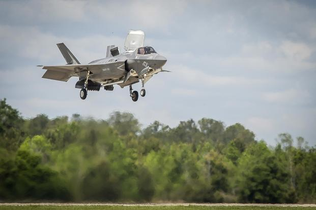 An F-35B Lighting II aircraft prepares to land during a training exercise with Airborne Tactical Advantage Company aboard Marine Corps Air Station Beaufort, April 14, 2017. (U.S. Marine Corps/ Lance Cpl. Ashley Phillips)