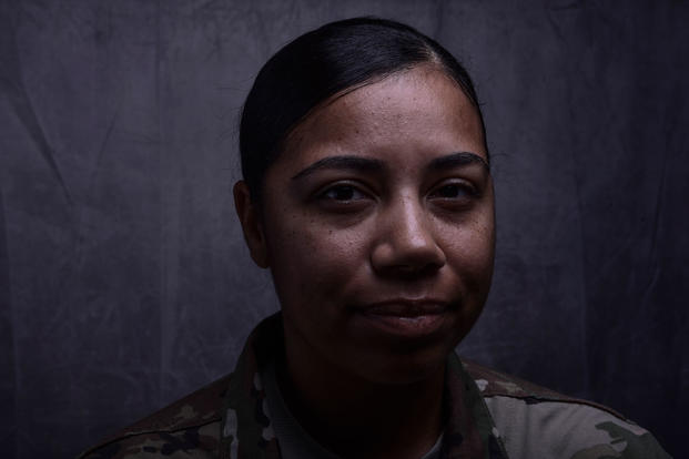 Air Force Tech. Sgt. Nakisha Simon, 386th Expeditionary Medical Group bioenvironmental engineering noncommissioned officer in charge, has turned her previous battles with mental health into ways to help other airmen during her 15-year career. Simon is deployed from the 355th Aerospace Medicine Squadron at Davis-Monthan Air Force Base, Arizona. (Air Force photo/Christopher Stoltz)