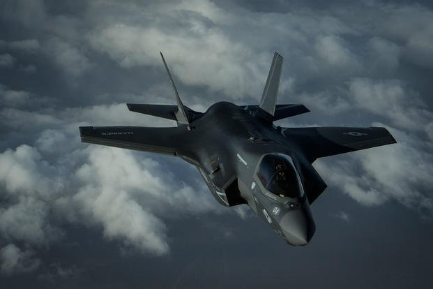 A U.S. Marine Corps F-35B Lightning II assigned to the Marine Fighter Attack Squadron 211, 13th Marine Expeditionary Unit, flies over Afghanistan, Sept. 27, 2018. (U.S. Air Force photo/Corey Hook)