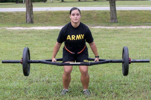 Sgt. Bruna Galarza demonstrates the dead-lift event during a pilot for the Army Combat Fitness Test, a six-event assessment designed to reduce injuries and replace the current Army Physical Fitness Test. (US Army photo/Sean Kimmons)