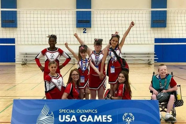 Members of the Joint Base Lewis-McChord, Washington Special Olympics cheer team. (Photo courtesy of Stacie Pogoncheff)