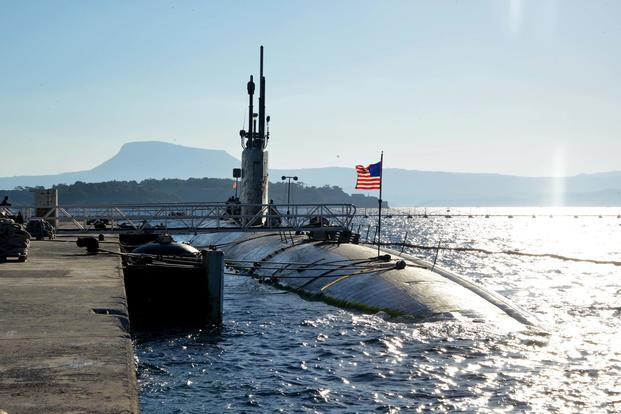 USS Boise moors at Marathi NATO Pier Complex in Souda Bay, Greece, during a scheduled visit Dec. 23, 2014. (U.S. Navy/Mass Communication Specialist 2nd Class Jeffrey M. Richardson)
