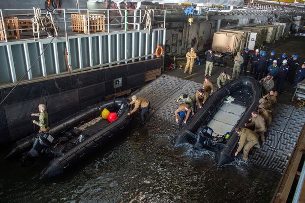 Sailors assigned to Explosive Ordnance Disposal Mobile Unit (EODMU) 2 prepare to launch a combat rubber raiding craft from the well deck of the Royal Fleet Auxiliary landing ship dock Mounts Bay during a mine countermeasures (MCM) task group experiment, March 23, 2019. (U.S. Navy photo/Danny Ray Nuñez Jr.)