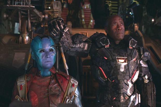 6f4813a35e9bd Karen Gillan stars as Nebula and Don Cheadle is Lt. Col. James (Rhodey)  Rhodes (aka War Machine) in