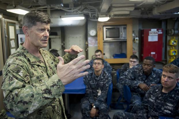 b122b1c39c843d Adm. Bill Moran speaks to Sailors during an all-hands call aboard the  ballistic