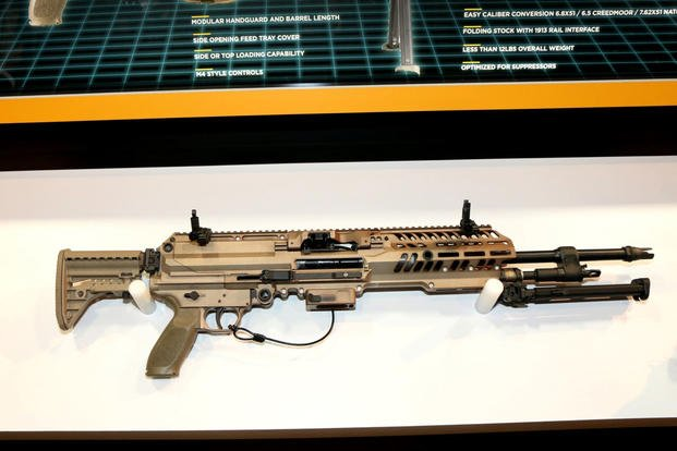 Sig Sauer automatic rifle prototype for the Army's Next Generation Squad Weapon effort on display at the 2019 Association of the United States Army's annual meeting. (Matthew Cox/Military.com)