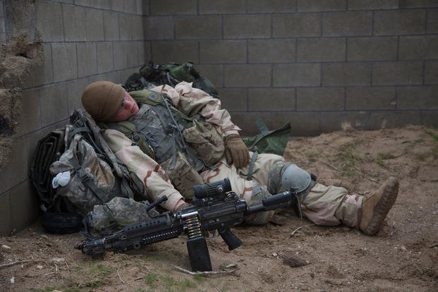 A soldier naps at the National Training Center. (U.S. Army/Tracy McKithern)