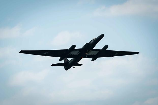 A U-2 Dragon Lady flies over Kadena Air Base, Japan, on Jan. 23, 2019. The U-2 is a single-jet engine aircraft capable of providing day and night, high-altitude all-weather intelligence gathering. (U.S. Air Force photo by Airman 1st Class Matthew Seefeldt)