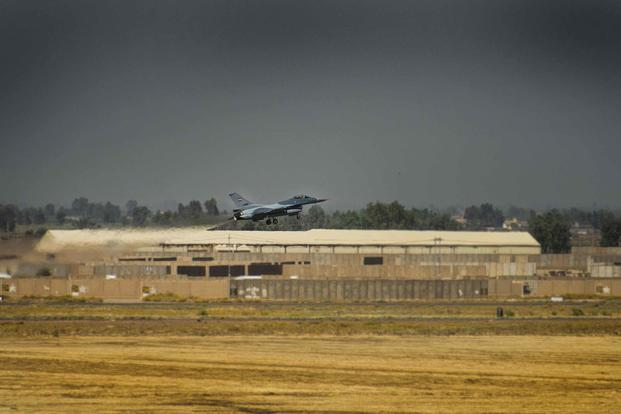 An Iraqi F-16 Fighting Falcon fighter aircraft, assigned to the 9th Fighter Squadron, takes off prior to performing a Close Air Support Mission at Balad Air Base, Iraq, on June 17, 2019. (U.S. Air Force photo by Staff Sgt. Luke Kitterman)