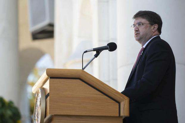 Secretary of Veterans Affairs Robert Wilkie; speaks during the Veterans Day Observance in the Memorial Amphitheater at Arlington National Cemetery, Arlington, Virginia, Nov. 11, 2018. (U.S. Army/Elizabeth Fraser)