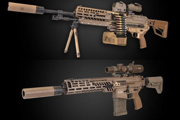 Sig Sauer's NGSW-AR, top, and NGSW-R, bottom, have been delivered to the Army as Next Generation Squad Weapon prototypes. (Courtesy Sig Sauer)