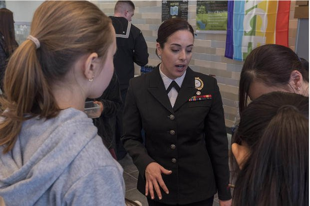 Navy recruiter speaks to students