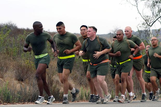 A group of Marines running as part of a body composition program at Camp Pendleton, California.