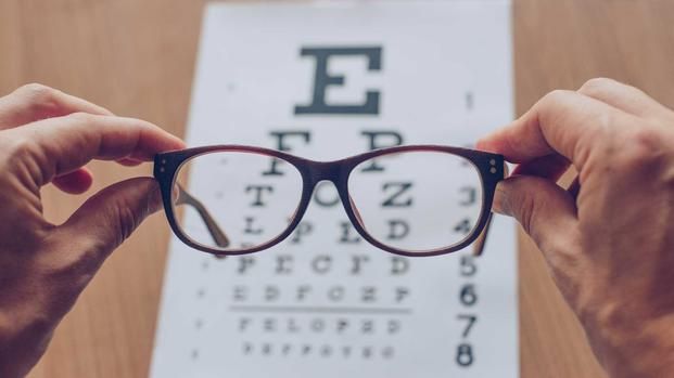 Eyeglasses with a vision test chart