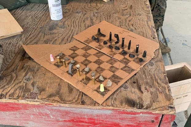 chess board and pieces made by students at the Infantry Marine Course out of Camp Pendleton